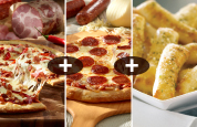 2 Large. 4-Topping Pizzas + TopperSticks $23