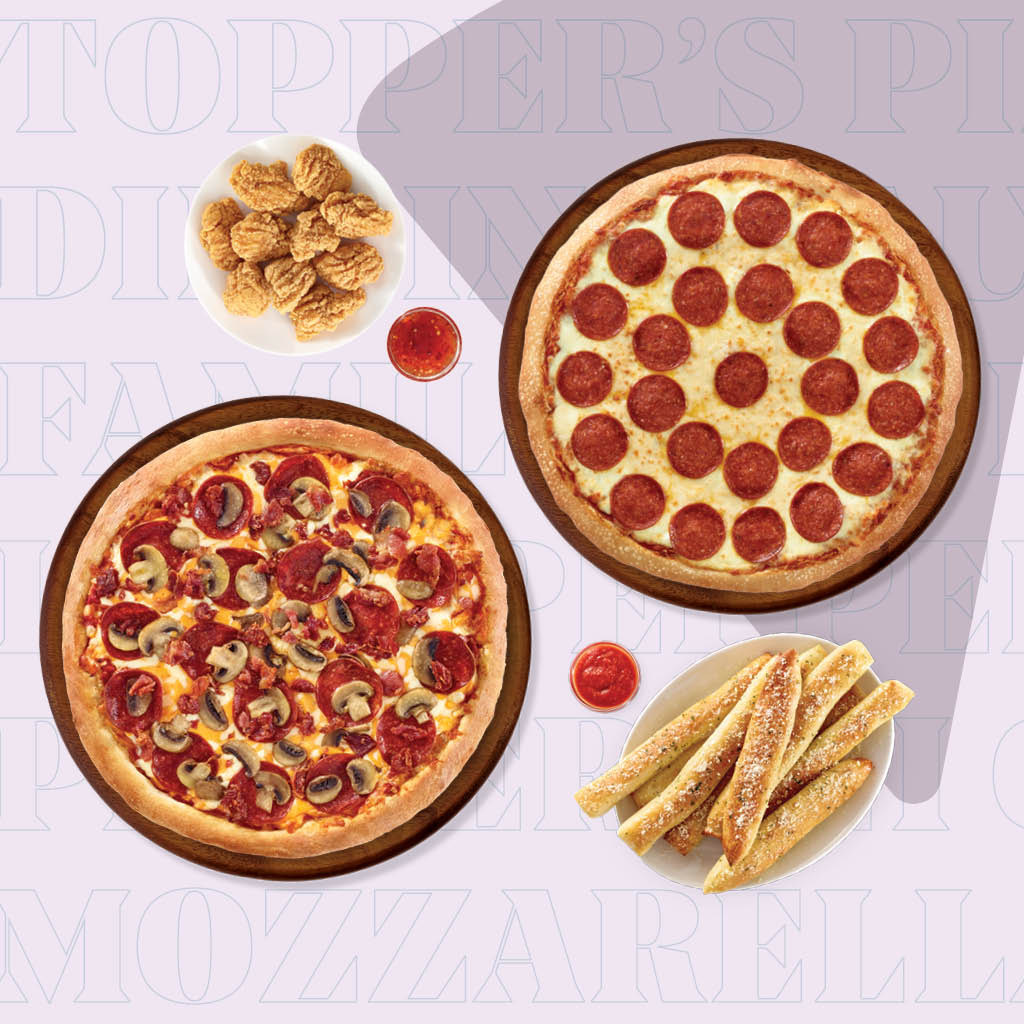2 Large Pizzas, (1-topping, and one Recipe), Boneless Chicken, TopperSticks or Garlic Cheese Bread
