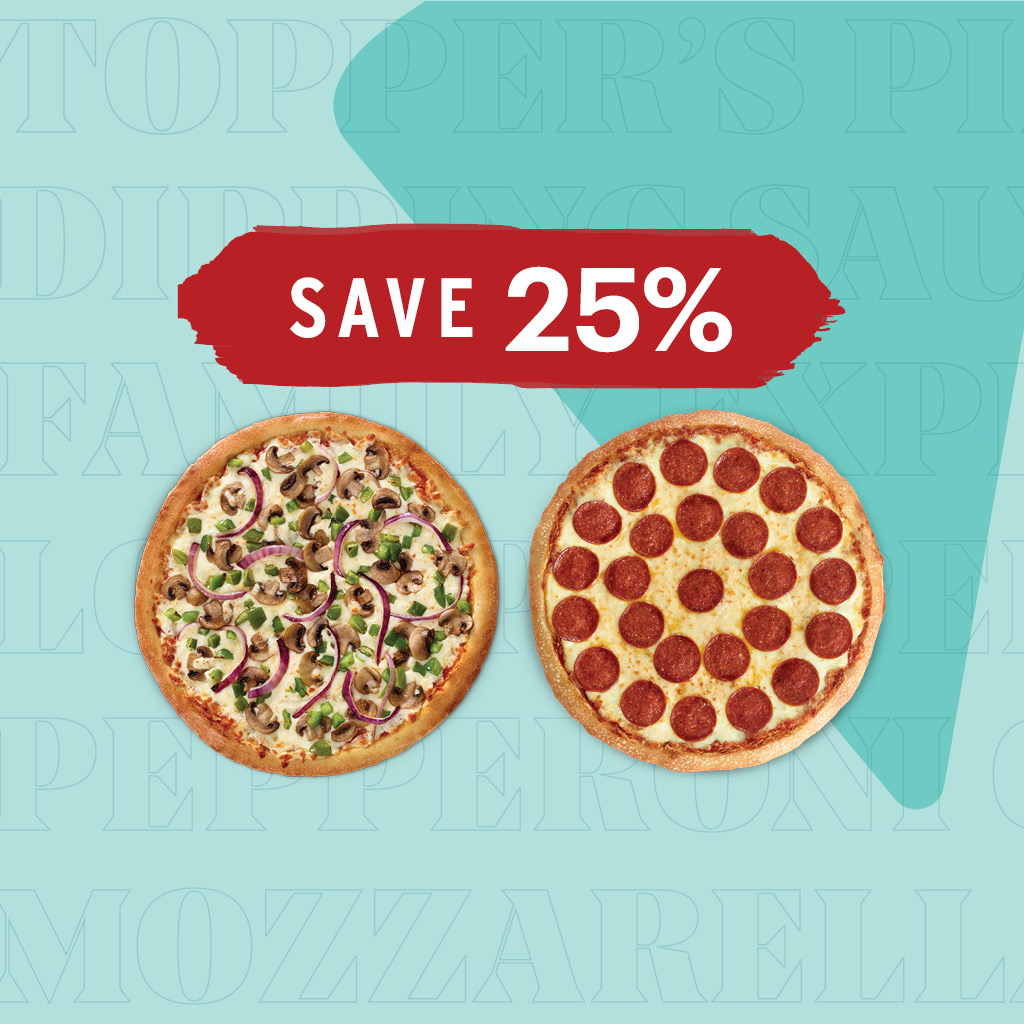 Save 25% off 2 Medium BYO Pizzas, 8 toppings combined